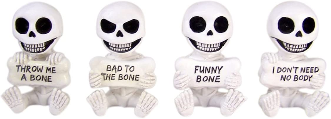Home Originality Funny Bones Set of 4 Skeletons Holding Whimsical Plaques, 4 Inch