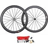 Road Bike Wheel set 50mm Clincher Carbon Fiber Matte 25mm Width For Shimano