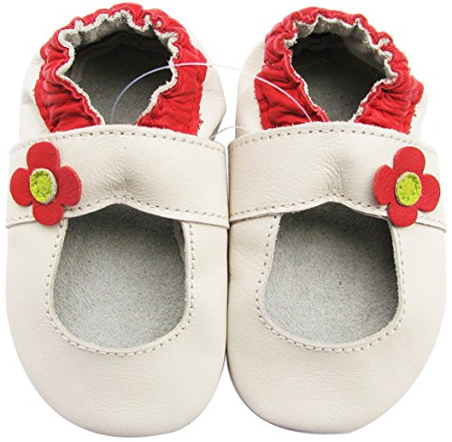Carozoo soft sole leather baby girl shoes infant toddler kids slippers Mary Jane Cream 6-12m