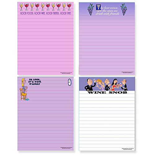 Funny Wine Theme Notepads - 4 Assorted Note Pads - Wine Humor