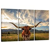 Kreative Arts – Large Modern Canvas Wall Art for Home and Office Decoration Animal Pictures Print Art on Canvas Texas Longhorn Canvas Prints Giclee Artwork for Wall For Sale