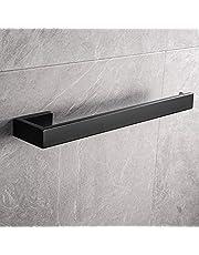 Lolypot Uchwyt na ręczniki przewiercony, wieszak na ręczniki ze stali nierdzewnej montowany na ścianie, łazienka wieszak na ręczniki 35 cm, wieszak na ręczniki do kąpieli i kuchni (czarny, wiertarka)