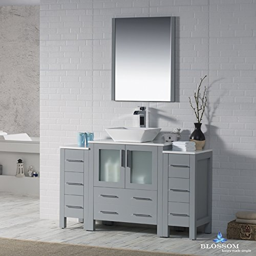 BLOSSOM 001-54-15-1616V-DSC Sydney 54'' Vanity Set with Vessel Sink and Double Side Cabinets Metal Gray
