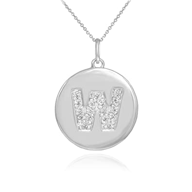 Amazon 14k white gold letter w diamond disc initial pendant 14k white gold letter quotwquot diamond disc initial pendant necklace aloadofball Gallery
