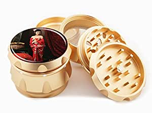 "Asian Girl Design Premium Grade Aluminum Tobacco,Herb Grinder -4Pcs Large (2.5"" Gold) # GLD-G121114-0019"
