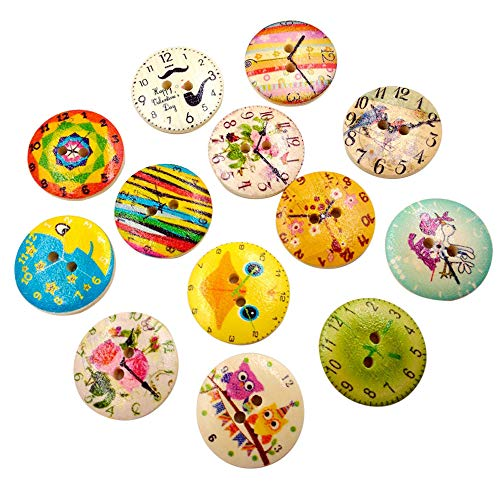 iuchoice ❤️❤️ 50pcs 20mm Mixed Round Pattern 2 Holes Wood Buttons Sewing Scrapbooking New Button Bear Wall Border