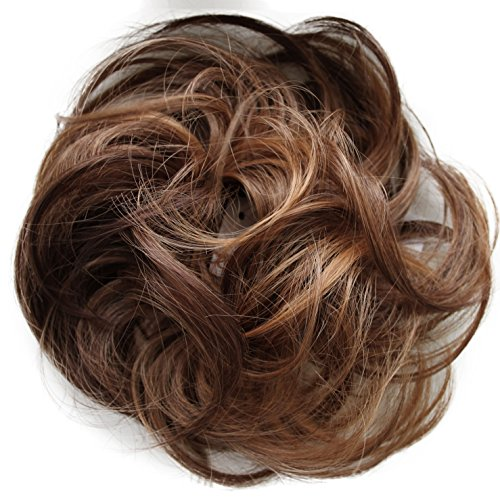 PRETTYSHOP Hairpiece Scrunchie Bun Up Do | Ponytail Extensions | Wavy Curly or Messy (Auburn Brown Mix #30H26 G31B)