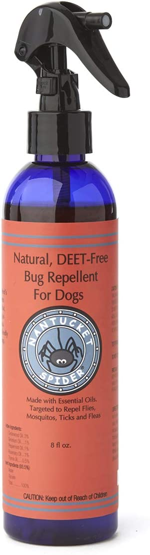 Nantucket Spider Natural Insect Repellent for Dogs - 8 fl oz | Organic Essential Oil Spray | Repels Mosquito, Flies, Ticks & Fleas | DEET Free Bug Repellant with Cedar Oil |
