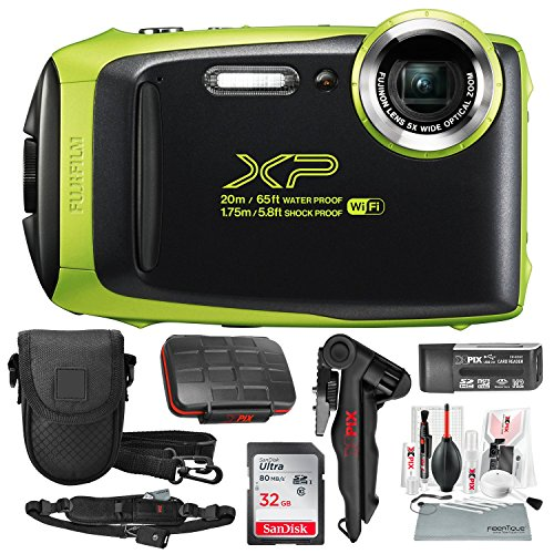 Fujifilm FinePix XP130 Waterproof & Shockproof Wi-Fi Digital Camera (Lime) with 32GB Card, Stable Tripod, Protective Camera Case, Xpix Cleaning Kit, w/Deluxe Bundle ()