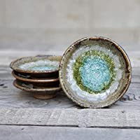 GEODE RING DISH: Individual Geode Ring Dish in COPPER, Fused Glass Dish, Trinket Dish, Soap Dish, Crackle Glass, Candle Holder, Dock 6 Pottery, Kerry Brooks Pottery