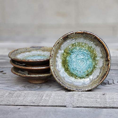 Geode Ring Dish in Copper, Individual Geode Ring Dish, Fused Glass Dish, Trinket Dish, Soap Dish, Crackle Glass, Candle Holder, Dock 6 Pottery, Kerry Brooks Pottery