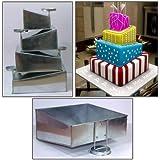 """EuroTins–Juego de moldes para tarta cuadrada de 4Tier nuevo diseño por EuroTins 6""""8"""" 10""""12"""""""