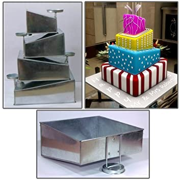 Topsy Turvy 4 Tier Square Cake Pans Tins New Design By EuroTins 6 8 10 12 Amazoncouk Kitchen Home