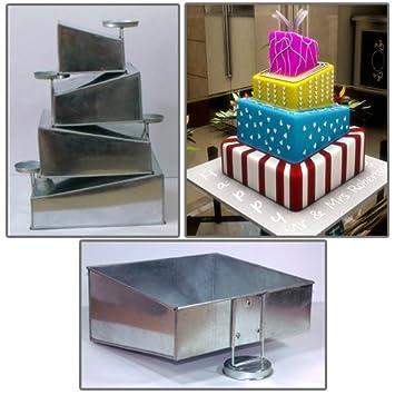 Euro Tins Multi Layer Cake Pans Topsy Turvy Square 4 Tier Wedding Cake Pan    Cake