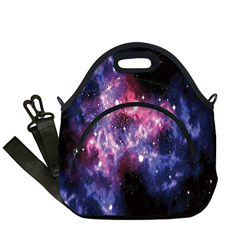 Insulated Lunch Bag,Neoprene Lunch Tote Bags,Space Decorations,Dusty Gas Cloud Nebula and Star Clusters in the Outer Space Cosmos Solar Deco Print,Navy Purple,for Adults and children