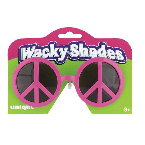 [Pink Peace Sign Novelty Glasses] (60s Girl Costumes)