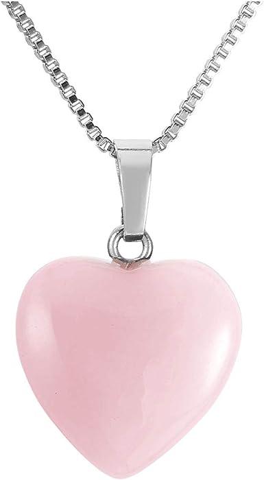 Leather Bracelet /& Rose Quartz Heart Pendant Ladies Gift Crystal Healing Gem