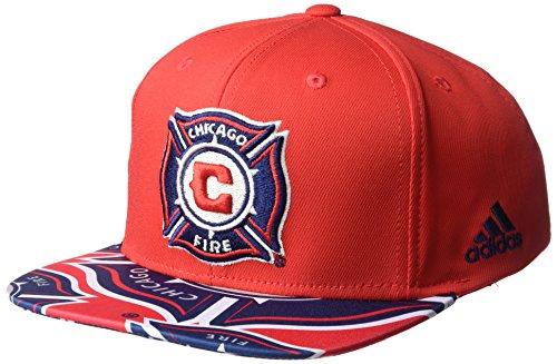 - MLS Chicago Fire Adult Men MLS SP17 Fan Wear Script Logo Flat Brim Snapback,OSFM,Red