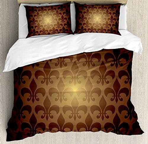 Fleur De Lis Decor Duvet Cover Set by Ambesonne, Royal Lily Flower Inspired Floral Baroque Style Dark Pattern Modern Decorative Art, 3 Piece Bedding Set with Pillow Shams, King Size, Brown (Fleur De Lis Bedroom Set)