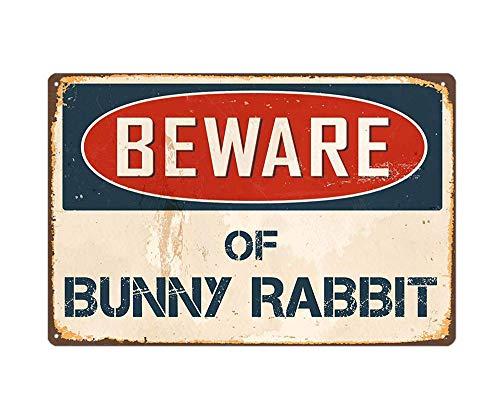 WholesaleSarong Beware of Bunny Rabbit Metal tin Sign Wall Art Decor Living Room Southwestern Decor