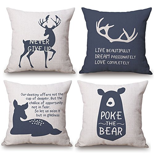 Elk Accent - KACOPOL Woodland Style Lovely Animal Deer Elk Bear & Inspirational Quote Throw Pillow Cover Cotton Linen Rustic Nursery Home Decor Pillow Case Cushion Cover 18x18 Inches (Animals & Quotes)