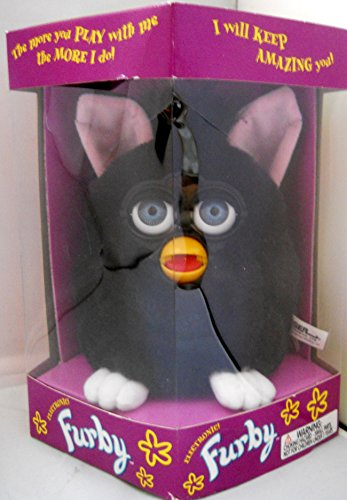 Furby Model 70-800 Black Body & Hair, White Feet, Pink Ears Blue Eyes Rare 1998