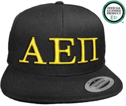 ALPHA EPSILON PI Flat Brim Snapback Hat Yellow Letters / A E Pi | Fraternity Cap