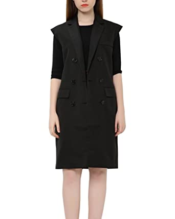 382ec2750459df LaoZanA Women Casual Double-Breasted Business Office Long Wasitcoat Sleeveless  Blazer Jacket Vest with Pocket  Amazon.co.uk  Clothing