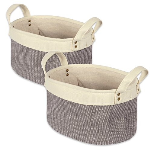 "DII Heavy Duty Canvas Laundry Basket, Perfect In Your Bedroom, Nursey, Dorm, Closet, Laundry Room, 14 x 10 x 7"", Medium Set of 2 - Gray Colorblock"