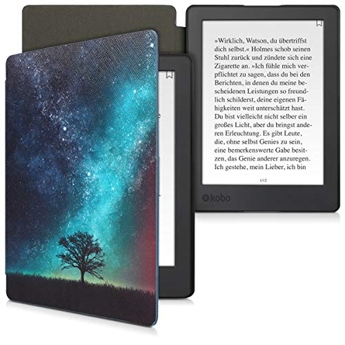 kwmobile Case Compatible with Kobo Aura H2O Edition 2 - PU e-Reader Cover - Cosmic Nature Blue/Grey/Black
