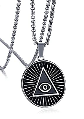 Mealguet Jewelry Stainless Steel Triangle Eye of Providence Illuminati All Seeing Eye Round Pendant Necklace for Men