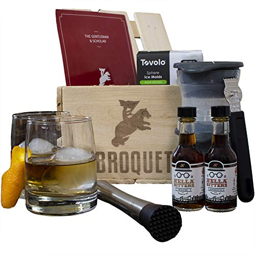 Crate Gift - Professional Old Fashioned Cocktail Mixology Bartender Kit perfect for mixing old fashions (7 Piece Bar Tools Set) Comes in a Luxury Wooden Man Gift Crate - Great Mixer Gift - Bartending Supplies