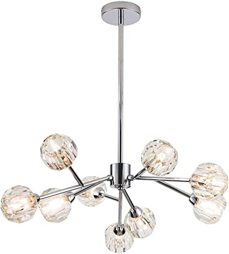 Modern Sputnik Crystal Chandelier Bedroom, 9 Lights Branch Molecules Pendant Light Ceiling Chandelier Lighting with G9 LED Bulbs Chrome
