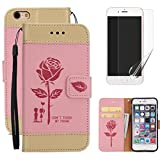 For iphone 7 (4.7 inch) Wallet Case Holster with Screen Protector ,OYIME [Lovers Under Rose] Design Leather Kickstand Magnetic with Card Holder Full Body Protective Flip Cover - Pink