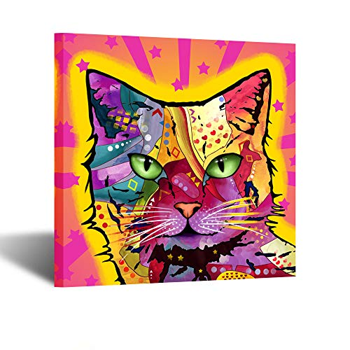 Kreative Arts Funny Cat Canvas Wall Art Colorful Pet Pop Art Prints Abstract Animal Painting Framed Canvas Print Ready to Hang Giclee Print Gallery Wrap Artwork for Walls Children Room Decor 24x24inch