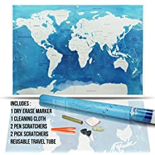 Travel Scratch Off World Map - (32 x 23 Inch) Scratchable Golden Top Coat + Scratchers & Adhesive Dots in a Reusable Travel Tube by Jacs