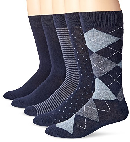 Amazon Essentials Men's 5-Pack Patterned Dress Socks, Assorted Navy, Shoe Size: 13-15