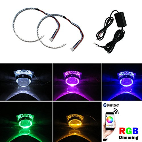 Kaizen Demon Eyes Headlights Halo Ring Bluetooth Wireless Remote Control RGB LED For 2.5