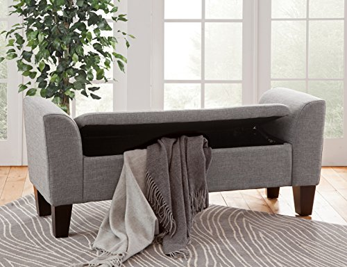 Arms Not Upholstered Benches (Grafton 1495-47-L02 Chloe Storage Bench, Medium, Grey)