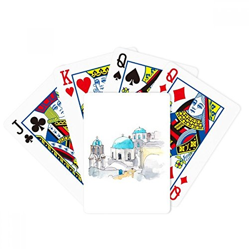 beatChong Imerovigli Village in Santorini Greece Poker Playing Card Tabletop Board Game Gift by beatChong
