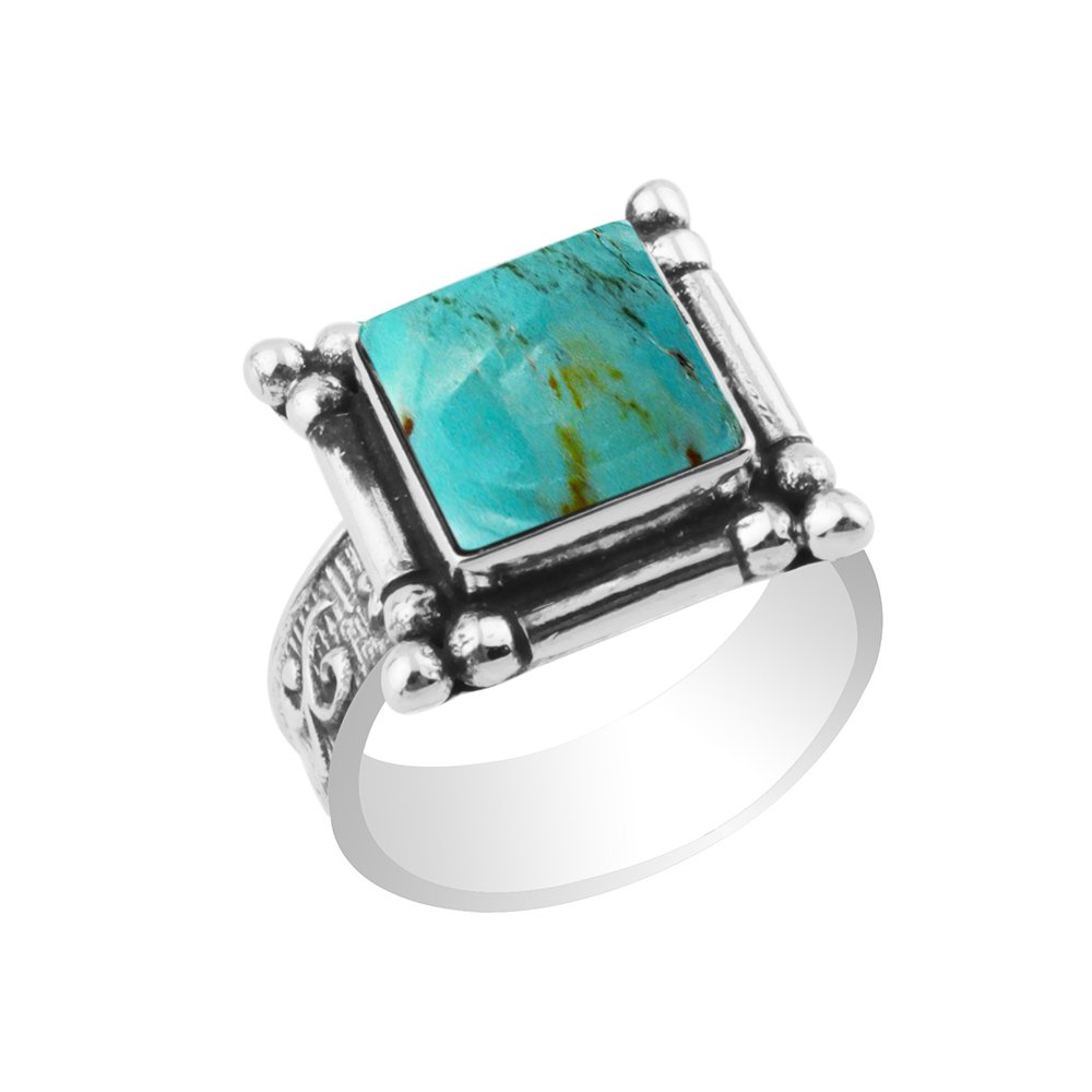 5.40ctw,Genuine Turquoise 10x10mm Square & .925 Silver Plated Handmade Fashion Ring (Size-9)