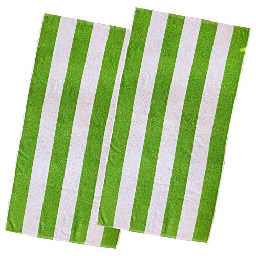 Espalma Copa Cabana Stripe Cotton Beach Towel, Over Size Luxury 30 Inch Wide x 60 Inch Long Set of 2 - Soft and Plush Absorbent Terry Cotton Terry Pool and Spa Towel Set, 2 Pack, Parrot Green - Large Green Parrot