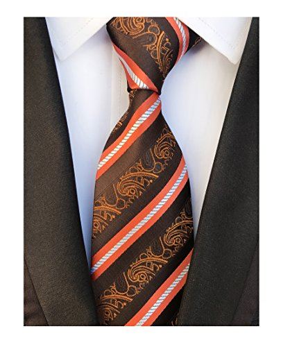 Men's Narrow Vogue Brown Orange Stripe Tie Adult Formal Self Winter Soft Necktie