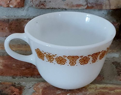 (Vintage Pyrex Coffee Cup Butterfly Gold)