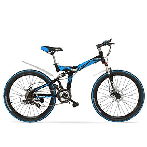 K660M 24/26インチ折り畳みMTBバイク、21速折り畳み自転車、ロック可能フォーク、フロント&リアサスペンション、ディスクブレーキ、マウンテンバイク B078RMG3B3 24 インチ|黒靑 黒靑 24 インチ