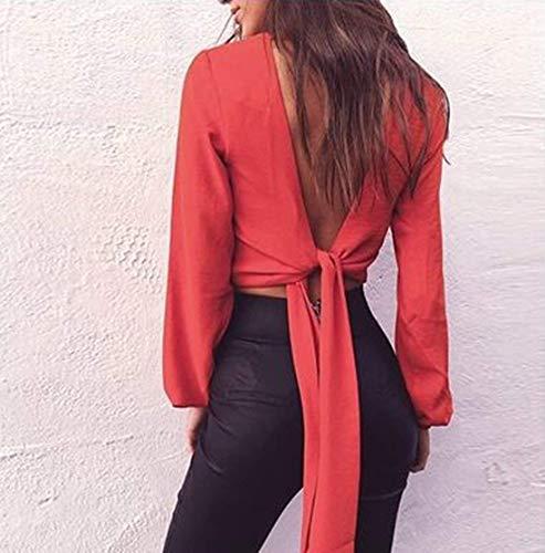 V Tinta A Deep Glamorous Camicetta Estate Bowknot Ladies Maniche Camicie Rot New Corta Casual Lunghe Unita Scollo Aderenti Semplice Top Crop tt40qw7