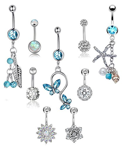 LOLIAS 9 Pcs 14G Stainless Steel Dangle Belly Button Rings Set for Women Girls Navel Barbell Body Jewelry ()