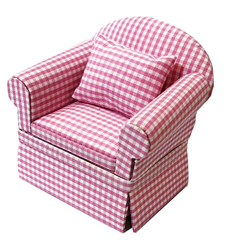 Inusitus Miniature Dollhouse Sofa Arm Chair – Dolls House Furniture Couch – White with Red Pattern – 1/12 Scale (Pink…