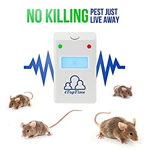 Pest Control Ultrasonic Repeller - Indoor Devices, Plug in with Double Ultrasonic & Electromagnetic Deterrent Power - Get rid of Mice,Spiders,Fleas,Cockroaches, Mosquitos,Reject Insects 4 Pack