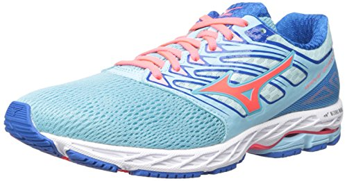 Mizuno Running Women's Wave Shadow Shoes, Blue Topaz/Fiery Coral/Imperial Blue, 10.5 B US ()